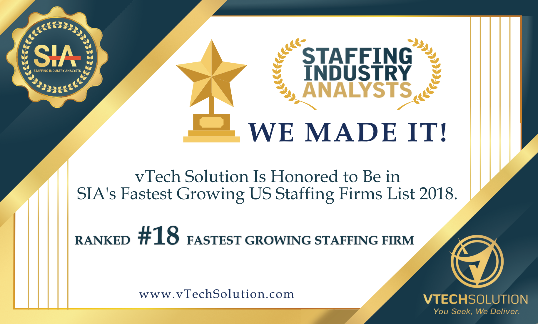vTech has been ranked #18 in SIA's Fastest Growing Companies